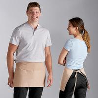 Choice Beige Poly-Cotton Waist Apron with 3 Pockets - 12 inchL x 26 inchW