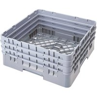 Cambro BR712151 Soft Gray Camrack Customizable Full Size Open Base Rack with 3 Extenders