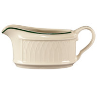 Homer Laughlin 1430-0317 Green Jade Gothic Off White 6.5 oz. Sauce Boat - 36/Case
