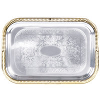 Vollrath 47266 Odyssey 19 1/2 inch x 14 inch Rectangular Gold Trim Metal Catering Tray