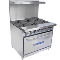Bakers Pride Restaurant Series 36-BP-6B-S30 Natural Gas 6 Burner Range with Standard 30 inch Oven
