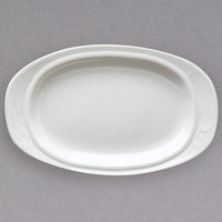 Homer Laughlin 6161000 Lyrica 13 3/8 inch Ivory (American White) Oval China Platter - 12/Case