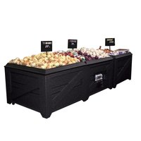 Orchard Produce Display Bin 4' x 4' with Liner and Casters - Wood Grain Plastic