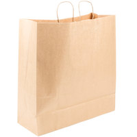 Duro Cargo Natural Kraft Paper Shopping Bag with Handles 18 inch x 7 inch x 18 3/4 inch - 200/Bundle
