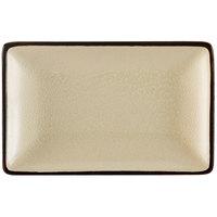 CAC 666-33-W Japanese Style 5 inch x 3 1/2 inch Rectangular China Plate - Black Non-Glare Glaze / Creamy White - 36/Case