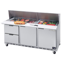 Beverage-Air SPED72-08-2 72 inch Refrigerated Salad / Sandwich Prep Table with Two Doors and Two Drawers