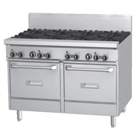 Garland GFE48-8LL Natural Gas 8 Burner 48 inch Range with Flame Failure Protection, Electric Spark Ignition, and 2 Space Saver Ovens - 240V, 272,000 BTU