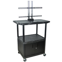 Luxor / H. Wilson LE48CWTUD Flat Panel TV Cart with 2 Shelves and Security Cabinet for Up to 50 inch Screens