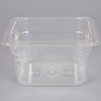 "1/6 Size Clear Polycarbonate Food Pan - 4"" Deep"