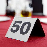 ... Tablecraft T150 1 to 50 Stainless Steel Table Tent Number & Stainless Steel Table Numbers | Steel Table Tents