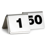 1 to 50 Stainless Steel Table Tent Number