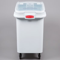 Rubbermaid FG360288WHT ProSave 26.2 Gallon / 415 Cup White Slant Top Mobile Ingredient Storage Bin with Sliding Lid