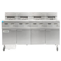 Frymaster FPGL430-4LCA Natural Gas Floor Fryer with Two Full Right Frypots / Two Left Split Pots and Automatic Top Off - 300,000 BTU