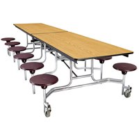 National Public Seating MTS8 8 Foot Mobile Cafeteria Table with Particleboard Core and 8 Stools