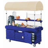 Cambro KVC856C186 CamKiosk Navy Blue Customizable Vending Cart with 6 Pan Wells and Canopy