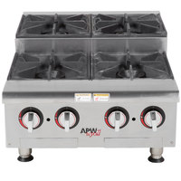 APW Wyott HHPS-424 Natural Gas Heavy Duty 4 Burner Step-Up Countertop 24 inch Range / Hot Plate - 120,000 BTU