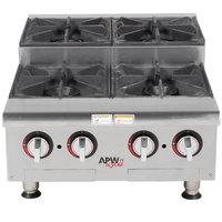 APW Wyott HHPS-424 Natural Gas Heavy Duty 4 Burner Step-Up Countertop 24 inch Range / Hot Plate - 120,000 BTU