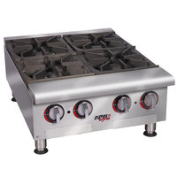 APW Wyott HHPS-424 Heavy Duty 4 Burner Step-Up Countertop 24 inch Range / Hot Plate - 120,000 BTU
