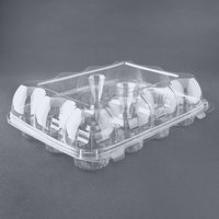 12 Compartment Clear Hinged High Dome Cupcake Container - 100 / Case