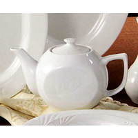 CAC RSV-TP Roosevelt 15 oz. Super White Porcelain Tea Pot with Lid - 36 / Case