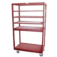 Winholt DR-2443 Red 43 inch x 24 inch Merchandiser Rack with Four Flat Shelves and Flat Bottom Shelf