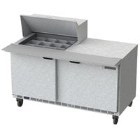 Beverage Air SPE60HC-12M 60 inch 2 Door Mega Top Refrigerated Sandwich Prep Table