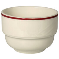 Homer Laughlin Lydia Maroon 7.5 oz. Off White China Bouillon - 36/Case