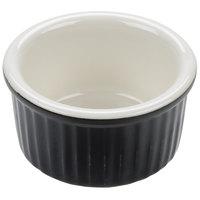 Tuxton B4X-0252 DuraTux 2.5 oz. Black / Eggshell Fluted China Ramekin - 48/Case
