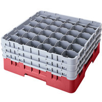 Cambro 36S958416 Cranberry Camrack Customizable 36 Compartment 10 1/8 inch Glass Rack
