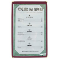 8 1/2 inch x 14 inch Burgundy Single Pocket Menu Cover