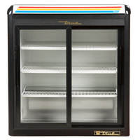 True GDM-9-LD Black Countertop Two Section Display Refrigerator with Sliding Doors