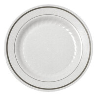 Fineline Silver Splendor 507WH White 7 inch Plastic Plate with Silver Bands - 15 / Pack