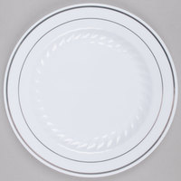 "Fineline Silver Splendor 507-WH 7"" White Plastic Plate with Silver Bands - 15/Pack"