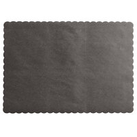 Choice 10 inch x 14 inch Black Colored Paper Placemat with Scalloped Edge   - 1000/Case