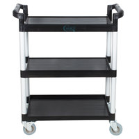 Choice 32 inch x 16 inch x 38 inch Black 3 Shelf Utility / Bus Cart