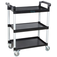 Choice Black Utility / Bus Cart with Three Shelves - 32 inch x 16 inch
