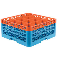Carlisle RG16-3C412 OptiClean 16 Compartment Orange Color-Coded Glass Rack with 3 Extenders