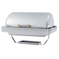 Vollrath 46258 9 Qt. New York, New York Drop-In Retractable Dripless Chafer Full Size with Brass Trim