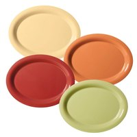 GET SP-OP-950-COMBO Diamond Harvest 9 3/4 inch x 7 1/4 inch Oval Platter Combo Pack - 24/Case
