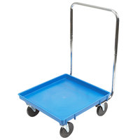 Vollrath Traex® 21 inch x 21 inch Blue Rack Dolly with 30 inch Chrome-Plated Handle