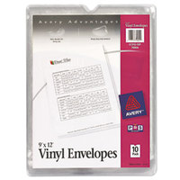 Avery 74804 9 inch x 12 inch Clear Top-Loaded Vinyl Envelope with Thumb Notch - 10/Pack