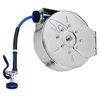 T&S B-7242-C08H 50' Enclosed Epoxy Coated Steel Hose Reel with JeTSpray Hi-Flow Spray Valve
