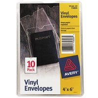 Avery 74806 4 inch x 6  Clear Top-Load Vinyl Envelope with Thumb Notch - 10/Pack