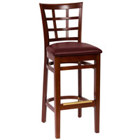 BFM Seating LWB629MHBUV Pennington Mahogany Beechwood Bar Height Chair with Window Wooden Back and 2 inch Burgundy Vinyl Seat