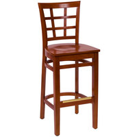 BFM Seating LWB629CHCHW Pennington Cherry Beechwood Bar Height Chair with Window Wooden Back