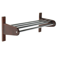 CSL TFX-1824D 18 inch Dark Oak Frame Wall Mount Coat Rack with Metal Interior Top Bars with 1 inch Hanging Rod