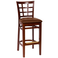 BFM Seating LWB629MHLBV Pennington Mahogany Beechwood Bar Height Chair with Window Wooden Back and 2 inch Brown Vinyl Seat