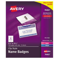 Avery 74461 2 1/4 inch x 3 1/2 White Laser / Ink Jet Name Badge and Top-Loading Clip Holder - 100/Box
