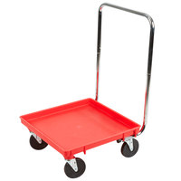 Vollrath Traex® 21 inch x 21 inch Red Rack Dolly with 30 inch Chrome-Plated Handle