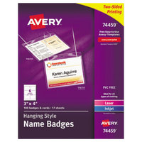 Avery 74459 4 inch x 3 inch White Horizontal Hanging-Style Laser / Ink Jet Name Badge and Top-Loading Holder - 100/Box